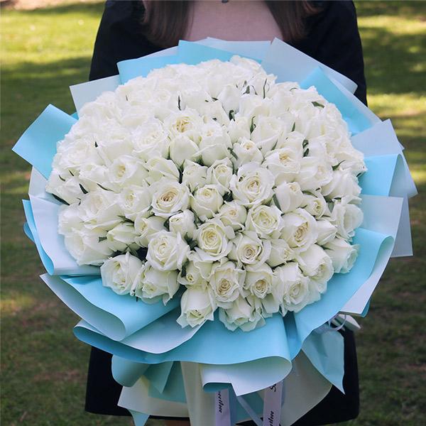 99朵白玫瑰花束